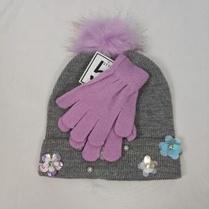 Gray Silver Floral Beaded Beanie Hat & Gloves Set